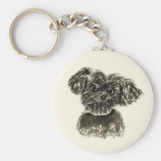 Cute Funny Schnauzer Puppy Watercolour Dog Design Keychain