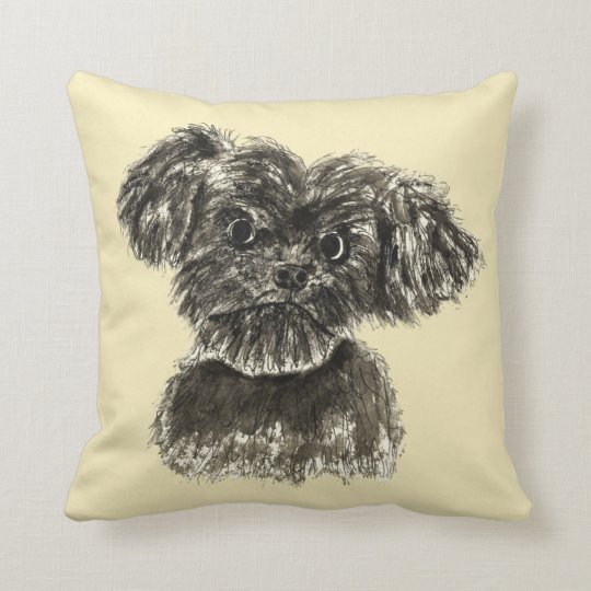 Cute Funny Schnauzer Puppy Watercolour Dog Design Throw Pillow