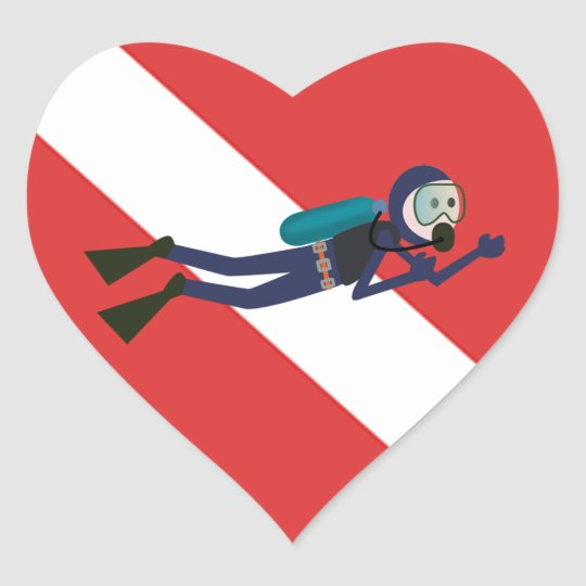 CUTE FUNNY SCUBA DIVER WITH  RED DIVING FLAG GIFT HEART STICKER