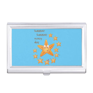 Cute funny sea star among little ones business card holders
