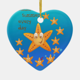 Cute funny sea star among little ones ceramic heart ornament