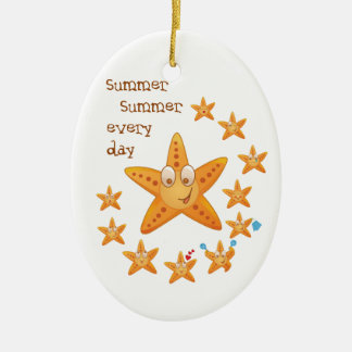 Cute funny sea star among little ones ceramic oval ornament