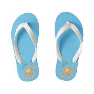 Cute funny sea star among little ones kid's flip flops