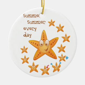 Cute funny sea star among little ones round ceramic ornament