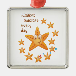 Cute funny sea star among little ones Silver-Colored square ornament