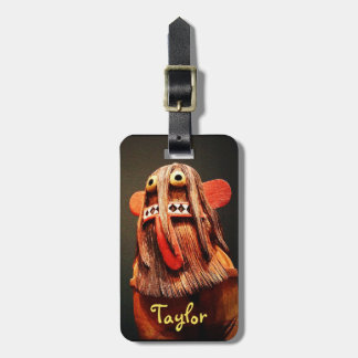 Cute, funny, silly, fuzzy face photo custom name luggage tag