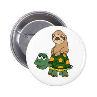 Cute Funny Sloth on Turtle Cartoon 2 Inch Round Button
