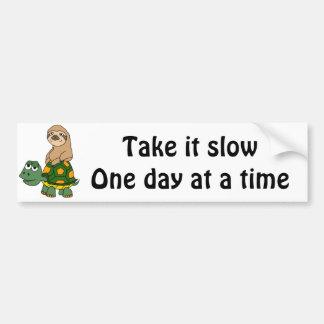Cute Funny Sloth on Turtle Cartoon Bumper Sticker