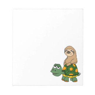 Cute Funny Sloth on Turtle Cartoon Notepad