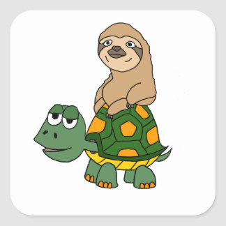 Cute Funny Sloth on Turtle Cartoon Square Sticker