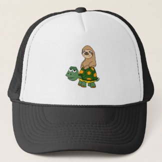 Cute Funny Sloth on Turtle Cartoon Trucker Hat