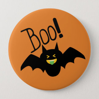 Cute Funny Smiling Bat Boo Halloween 4 Inch Round Button