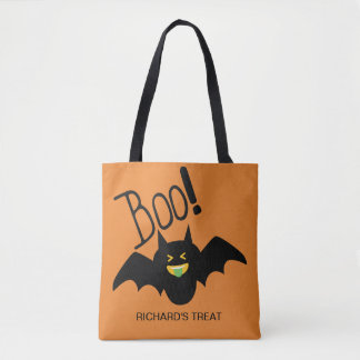 Cute Funny Smiling Bat Boo Halloween Candy Tote Bag