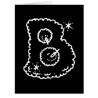 Cute Funny Snowball Faces Monogram Initial B Card