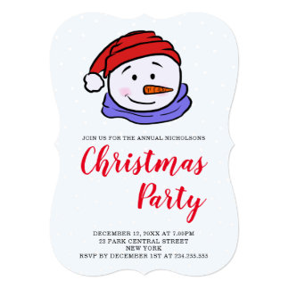 Cute Funny Snowman Drawing | Christmas Party Card