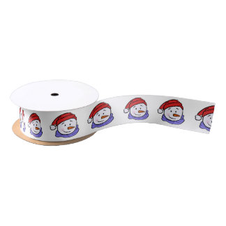 Cute Funny Snowman Drawing | Christmas Pattern Satin Ribbon