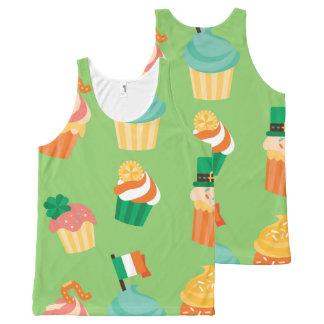 Cute funny St patrick green orange cupcake pattern All-Over-Print Tank Top