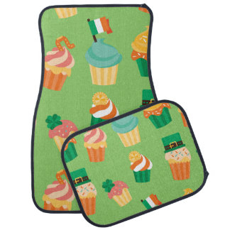 Cute funny St patrick green orange cupcake pattern Car Mat