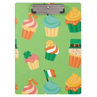 Cute funny St patrick green orange cupcake pattern Clipboard