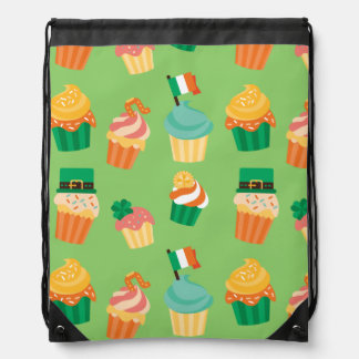 Cute funny St patrick green orange cupcake pattern Drawstring Bag