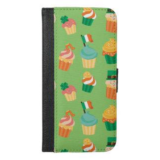 Cute funny St patrick green orange cupcake pattern iPhone 6/6s Plus Wallet Case