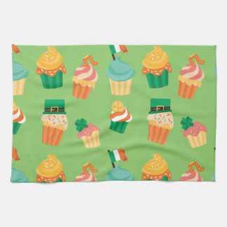Cute funny St patrick green orange cupcake pattern Kitchen Towel
