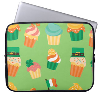 Cute funny St patrick green orange cupcake pattern Laptop Sleeve