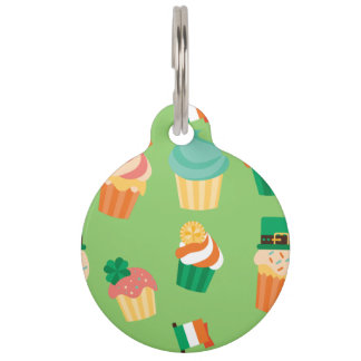 Cute funny St patrick green orange cupcake pattern Pet ID Tag