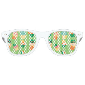 Cute funny St patrick green orange cupcake pattern Retro Sunglasses