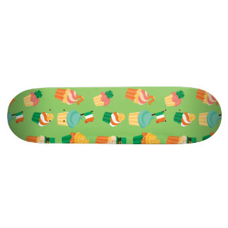 Cute funny St patrick green orange cupcake pattern Skate Deck