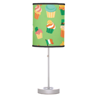 Cute funny St patrick green orange cupcake pattern Table Lamp