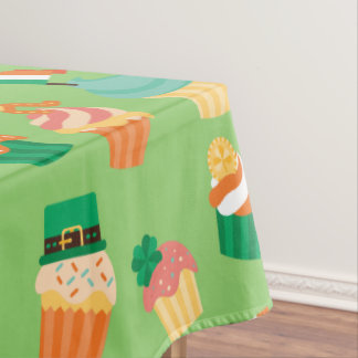 Cute funny St patrick green orange cupcake pattern Tablecloth