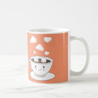 Cute funny sugar cubes bathing in coffee cup