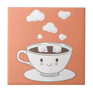 Cute funny sugar cubes bathing in coffee cup tile