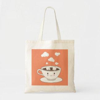 Cute funny sugar cubes bathing in coffee cup tote bag