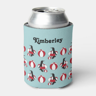 Cute Funny Swimming Penguin Pattern Kids Name Can Cooler