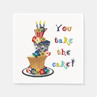 Cute Funny Topsy-turvy You Take The Cake Paper Napkin