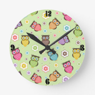Cute funny trendy owls and flowers pattern wallclock