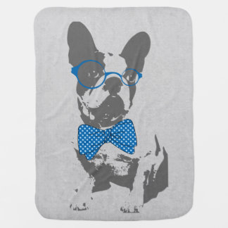 Cute funny trendy vintage animal French bulldog Baby Blanket
