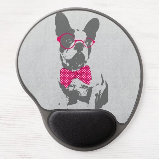 Cute funny trendy vintage animal French bulldog Gel Mousepads