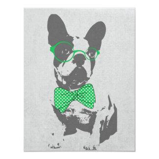 "Cute funny trendy vintage animal French bulldog 4.25"" X 5.5"" Invitation Card"