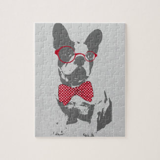 Cute funny trendy vintage animal French bulldog Jigsaw Puzzle