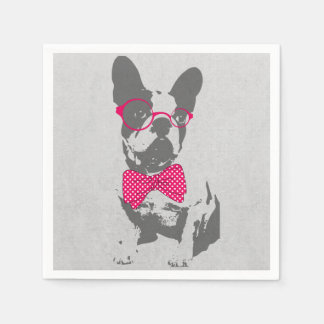 Cute funny trendy vintage animal French bulldog Paper Napkins