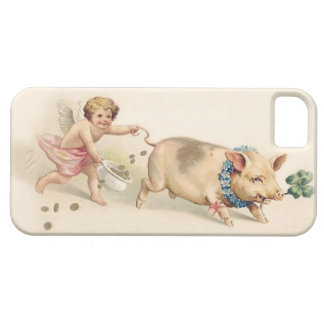Cute Funny Vintage Pig and Angel Running Together iPhone 5 Covers