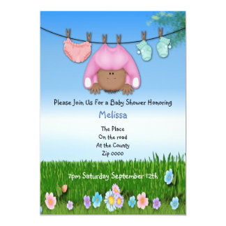 "Cute Funny Washing Line Baby Girl Shower 5"" X 7"" Invitation Card"