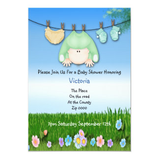 "Cute Funny Washing Line Baby Shower 5"" X 7"" Invitation Card"