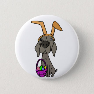 Cute Funny Weimaraner with Bunny Ears 2 Inch Round Button