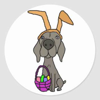 Cute Funny Weimaraner with Bunny Ears Classic Round Sticker