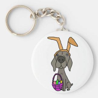 Cute Funny Weimaraner with Bunny Ears Keychain