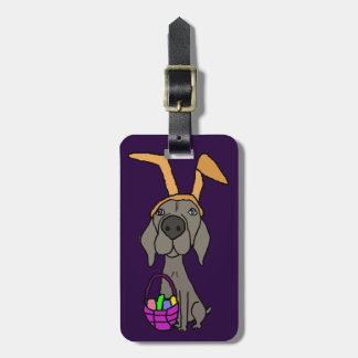 Cute Funny Weimaraner with Bunny Ears Luggage Tag